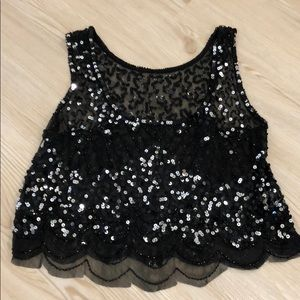 Tops - Festival black sequin crop top